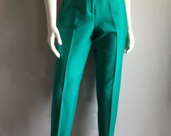Vintage Women's 80's Teal Stirrup Pants, High Waisted by Snazzie (M)