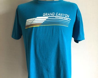 Vintage Men's 90's Grand Canyon, T Shirt, Turquoise, Short Sleeve (XL)
