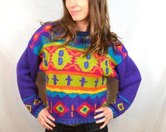 Amazing Rainbow Vintage 90s Knit Sweater - Reference Point