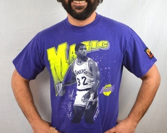 Vintage 90s 1990s Purple NBA Magic Johnson Tee Shirt - Starter LA Lakers