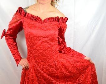 Vintage 80s 1980s WOW Red Lace Costume Queen of Hearts Lace Maxi Dress