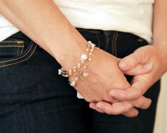 Gold Jewelry, Fine Jewelry, Gold Bracelet, 14K Gold Bracelet, Pink Gemstone Bracelet, Delicate Bracelet, Layering Bracelet, Gemstone Jewelry