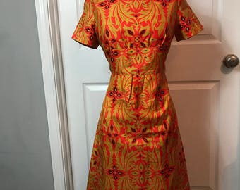 Vintage 60s 1960s wiggle dress - orange & gold - medium
