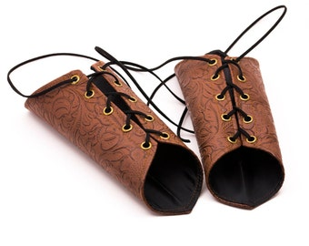 SMALL floral patterned elven brown pleather Short Pointy Bracers with Brass Grommets and Brown Laces (PAIR) renaissance elven armor dnd cute