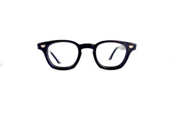 50s 60s Safety Supply Wayfarer Style Eyeglasses Unisex Vintage 1950's 1960's Black with Silver Detail Frames with Key Hole #M923 DIVINE (EB)
