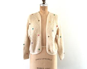 1950s Vintage Cardigan Sweater Cream Rainbow Polka Dots Knit Top M