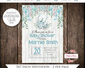 Editable Blue Owl Baby Shower Invitation - Blue Owl Shower - EDITABLE Invitation - INSTANT DOWNLOAD - Edit at Home with Adobe Reader Now!