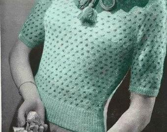 1940's vintage knitting pattern - Peasant pattern