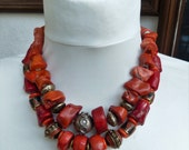 Red  coral tribal necklace with sterling silver, incl. earrings, natural coral, double strand