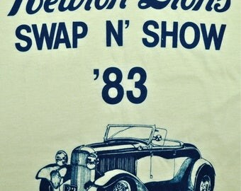 Vintage 80s 1983 NEWTON LIONS Swap N Show Hot Rod Automotive T SHIRT sz S M