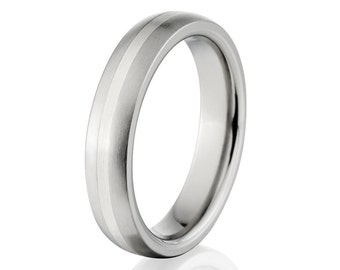 New 4mm Titanium Ring, Sterling Silver Inlay Band, Free Jewelry Sizing 4-17: 4HR11GBR-SSINLAY