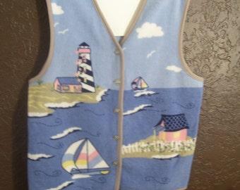 Vintage 80s, Northern Reflections Sweater Vest, Womens Size L, Nautical Scene, Ocean Lighthouse, Sailboats, Washable Fleece, Winter Vest
