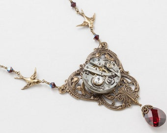 Steampunk Necklace Antique Silver Watch Movement on Victorian Leaf & Flower Filigree with Pearl, Garnet Crystal and Gold Bird Charms 3016