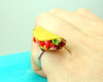 Food Ring // Taco Ring // MADE TO ORDER // Adjustable Ring // Monogrammed Option