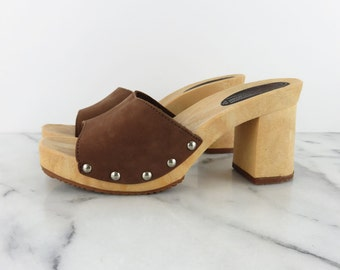 Vintage Platform Leather Slides Brown Sandals The Leather Collection Made in Italy 7.5