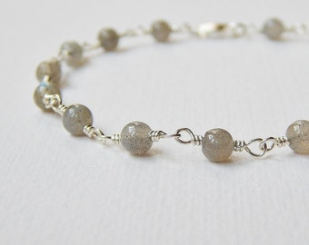 Labradorite Bracelet - Sterling Silver Beaded Bracelet Rosary Bracelet Beadwork Bracelet Labradorite Beads Rosary Chain