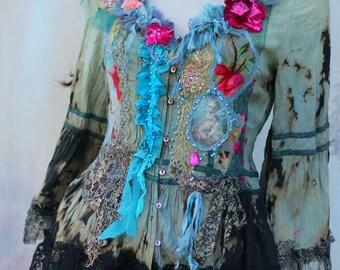 Verdigris rococo blouse, bohemian romantic, altered couture, vintage textiles