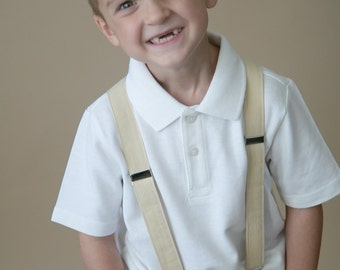 Little and Big Guy SUSPENDERS - Light Tan- (Newborn-Adult) - Baby Boy Toddler Teen Man- Brown Tan Taupe Champagne