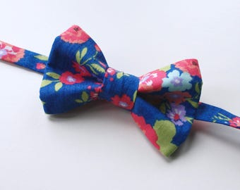 Little and Big Guy BOW TIE - Spring Easter - Bright Floral - (Newborn-Adult) - Baby Boy Toddler Teen Man- Coral Peach Green Blue Pink