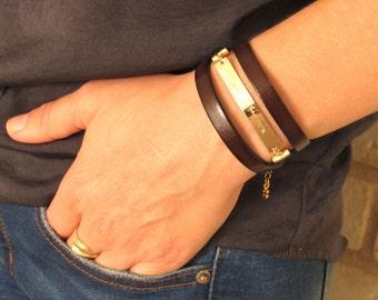 Personalized Bracelet for her, Leather Wrap Bracelet, Womens leather bracelet, Gifts for Her, Initial Charm Bracelet, Boho Bracelet, custom