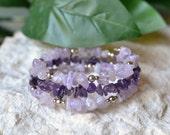 Amethyst Bracelet - Amethyst Wrap Bracelet - Amethyst Memory Bracelet - Amethyst Jewelry - Amethyst - Purple Stone