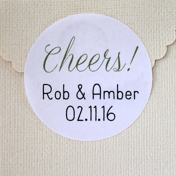 Wedding Stickers, Thank You, Wedding Favor Stickers, Personalized Wedding Favor Labels, Cheers