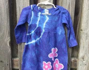 Girls Tie Dye Dress, Girls Easter Dress, Blue Girls Dress, Flower Girls Dress, Pink Flower Dress, Blue Flower Dress (18 months)