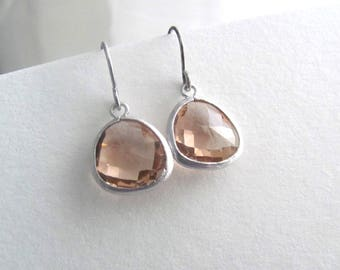 Sparkling pink peach drop earrings with sliver plated fixtures, tiny tear drop, rose blush
