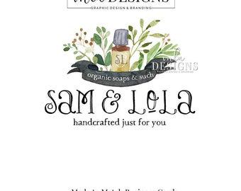 Essential Oils Logo - Premade Watercolor Logo, Soap Logo, Bath Supplies Logo, Organic Logo, Watercolour Logo, Custom Logo, Premade Logo