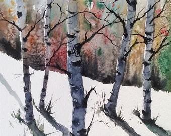 original colorful print BIRCH TREES landscape original watercolor original painting modern wall painting print birch trees