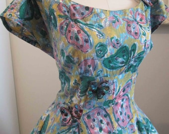 Novelty Butterfly Print Vintage 50's Dress w 3D Butterly Appliques 37-30-full