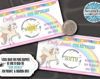 10 Party Scratch Off Cards, Birthday or Baby Shower Activity Game, Unicorn, Rainbow, Pastel Colors, Pink Stripes, Birthday, Baby Shower