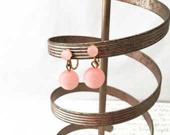 Pink Drop Earrings, Pink and Gold Earrings, Pink Screw Back Earrings, Pink Dangling Earrings, Pink Earrings, Dangle Earrings Vintage Jewelry