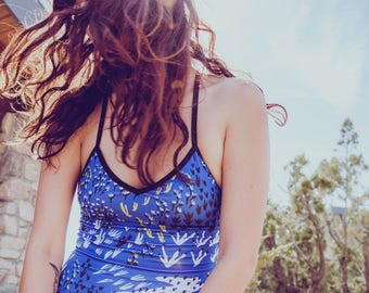 Blue Field of Dreams One Piece Swimsuit - Floral Swimsuit - One Piece Swimsuit - Made in Canada - Eco - Slow Fashion - Thief&Bandit®