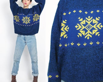 1980s Snowflake Sweater Vintage Womens Christmas Sweater Benetton Blue Sweater Flecked Winter Knitted Geometric Ski Pullover Jumper M/L E393
