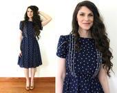 Vintage Blue Dress / 80s 70s Full Skirt Dress
