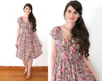 Floral Dress / 80s 90s Garden Party Floral 50s Style Dress