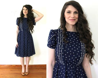 Vintage Blue Dress / 80s 70s Full Skirt Dress