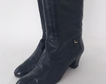 Vintage 80s Bally Boots Navy Leather Size 39.5