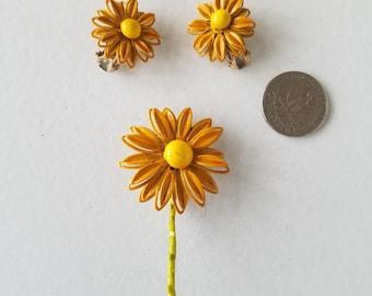 Orange & Yellow Enamel Daisy Earring and Brooch Pin Set