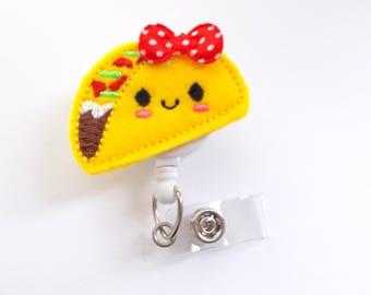 Taco Badge Reel - ID Felt Badge Holder - Food Badge Reel - Nurses Badge Holder - Funny Badge Reel - Dietitian Badge - Humorous Badge Clip