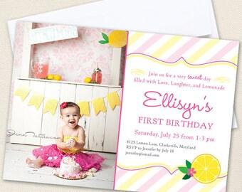 Pink Lemonade Party Photo Invitations - Professionally printed *or* DIY printable