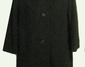 Vintage 60s Black Cashmere Coat with Mink Collar SZ S