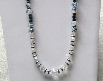 Poetry in Motion Diva Necklace - Swarovski Crystals, Sapphire Blue Crystals and Glass Beads - Night on the Town - Stunning and Timeless