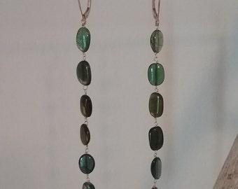 14 karat yellow gold tourmaline dangle earrings long shoulder duster statement jewelry fine solid gemstone ombre green blue teal handmade