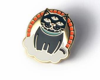 Mystic Cat - Hard Enamel Pin w/ Black Rubber Pin Clutch