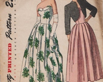 Simplicity 2442 / Vintage 40s Sewing Pattern / Strapless Gown / Evening Dress And Bolero Jacket / Size 14 Bust 32