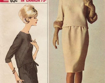 Simplicity Designer 6221 / Vintage 60s Sewing Pattern / Skirt Top / Size 14 Bust 34