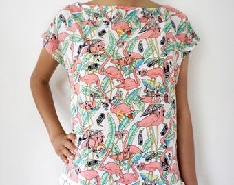 Flamingo Pom-Pom Top
