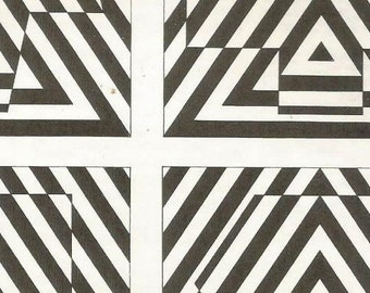 vintage 70s triangle optical illusion print black white pop art design retro home decor mod rocker skater stripes striped block square 63/64